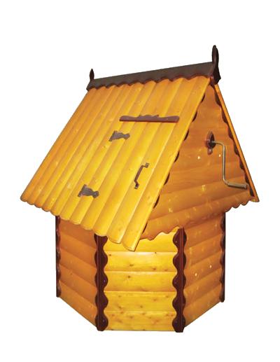 домик для колодца 2.4 Имитация бруса, ворот из металла